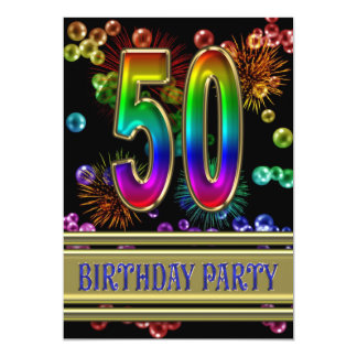 50th Birthday party Invitation with bubbles