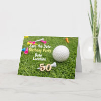 50th Birthday Party Invitation with golf ball