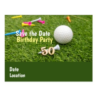 50th Birthday Party Invitation with golf ball Postcard