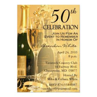 "50th Birthday Party Invitations 5"" X 7"" Invitation Card"