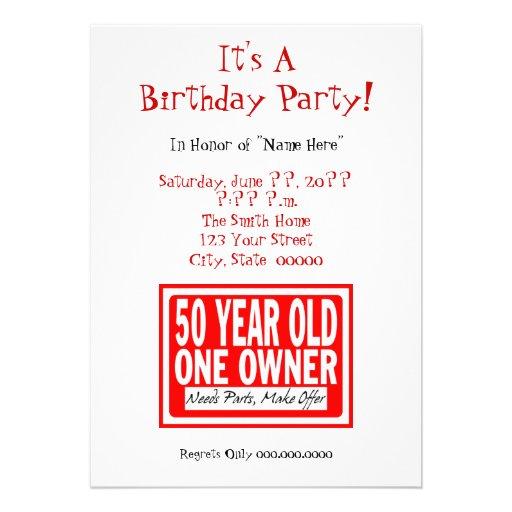 Personalized Funny 50th birthday Invitations – Fun 50th Birthday Invitations