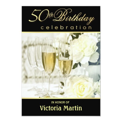 50th Birthday Party Invitations - Black and Gold