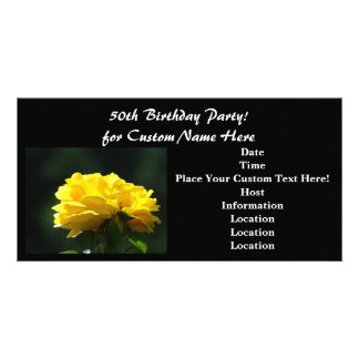 50th Birthday Party! Invitations Black Yellow Rose