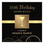 50th Birthday Party Invitations Formal Black Gold