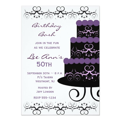 50th Birthday Party Invitations In Purple Swirl