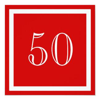 "50th Birthday Party Invitations - Red 5.25"" Square Invitation Card"