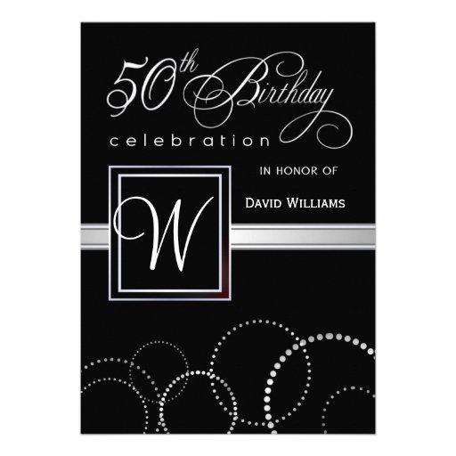 50th Birthday Party Invitations - Silver Monogram