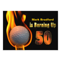 50TH BIRTHDAY PARTY INVITE - GOLF BALL BURNING