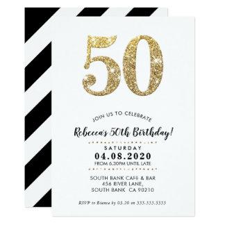 50TH BIRTHDAY PARTY INVITE modern gold glitter