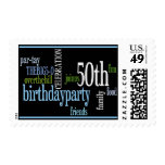 50th Birthday Party Invite Postage Stamps