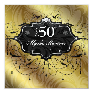 50th Birthday Party Jewel Chandelier Frame Gold Card