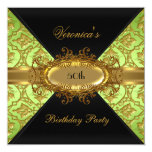 50th Birthday Party Lime Green Gold Black Damask 5.25x5.25 Square Paper Invitation Card