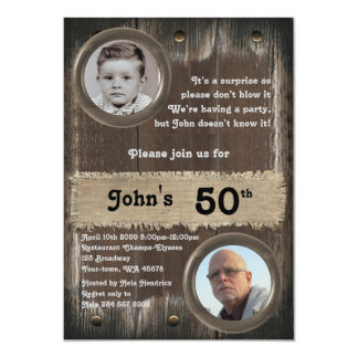 50th,Birthday Party man, any age,wood,rustic Card