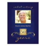 50th Birthday Party - Masculine Monogram - Blue Custom Invitation