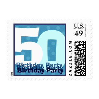 50th Birthday Party Modern Blue Polka Dots Stamp