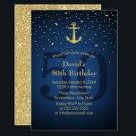 "50th Birthday Party Navy Blue Nautical Gold Anchor Invitation<br><div class=""desc"">Nautical Navy Blue Gold Anchor 50th Birthday Party Party Invitations.</div>"