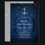 "50th Birthday Party Navy Blue & Silver Anchor Invitation<br><div class=""desc"">Nautical Navy Blue & Silver Anchor 50th Birthday Party Invitations.</div>"