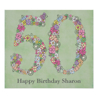 50th Birthday Party Number Banner Poster (Large)