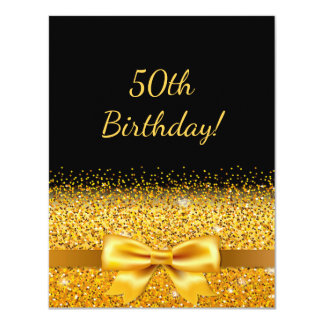 50th birthday party on black with gold bow sparkle card