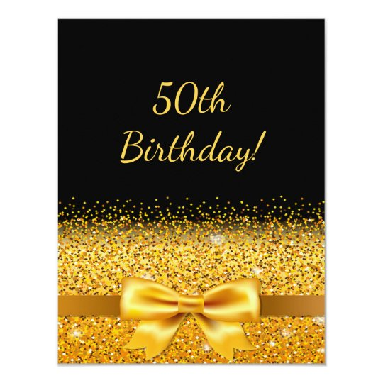 50th birthday party on black with gold bow sparkle card zazzle 50th birthday party on black with gold bow sparkle card filmwisefo Images