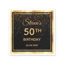 50th birthday party on classic black gold confetti napkin