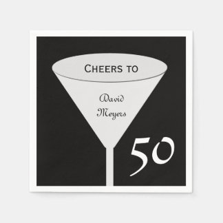 50th Birthday Party Paper Napkins Standard Cocktail Napkin
