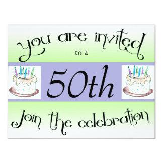 "50th Birthday Party Personalized Invitation 4.25"" X 5.5"" Invitation Card"