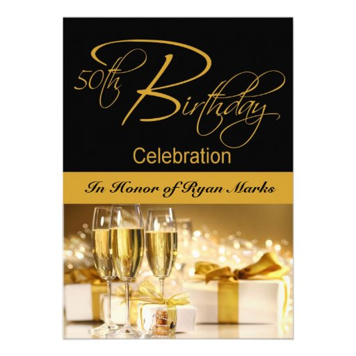"""50th Birthday Party Personalized Invitation 5"""" X 7"""