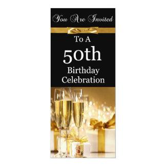 "50th Birthday Party Personalized Invitation 4"" X 9.25"" Invitation Card"