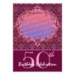 50th Birthday Party Photo Invite Burgundy Damask