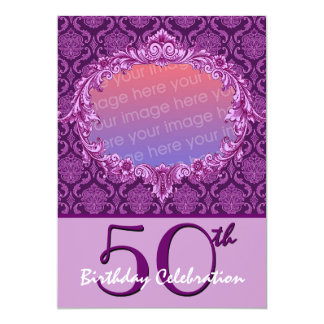 50th Birthday Party Photo Invite Purple Damask