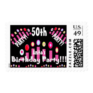 50th Birthday Party Pink Candles V03A Postage