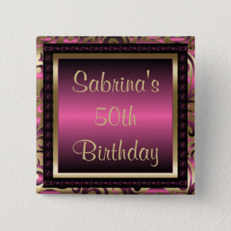 50th Birthday Party | Pink Metallic & Gold Button