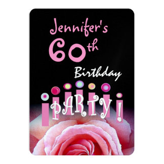 50th Birthday Party Pink Rose and Candles Metallic 5x7 Paper Invitation Card