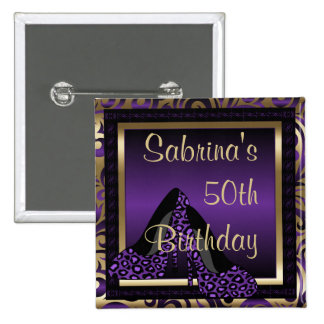 50th Birthday Party | Purple Leopard High Heels Button