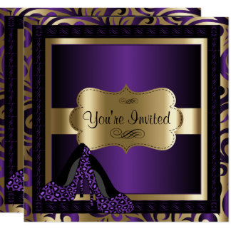 50th Birthday Party | Purple Leopard High Heels Card