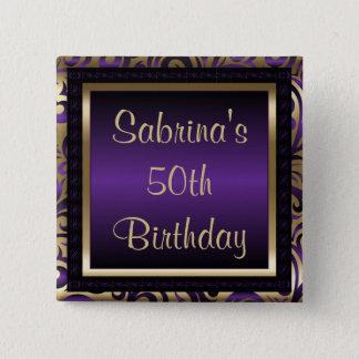50th Birthday Party   Purple Metallic & Gold Button