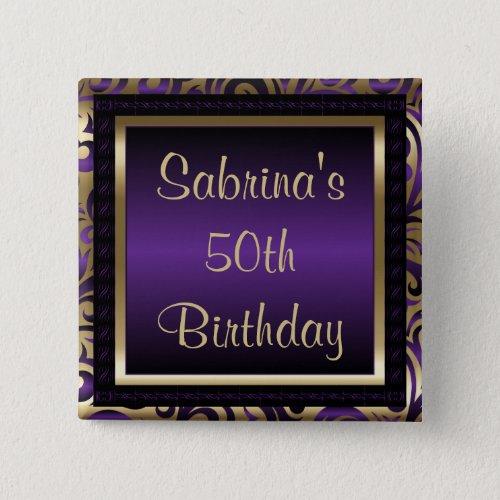 50th Birthday Party  Purple Metallic  Gold Button