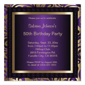50th Birthday Party | Purple Metallic & Gold Card
