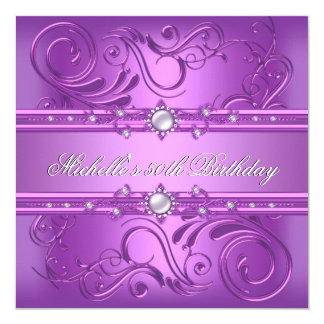 50th Birthday Party Purple Pink Pearl Jewel floral Card