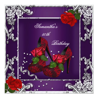 50th Birthday Party Purple Red Rose Silver Invitation