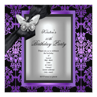 50th Birthday Party Purple Silver Damask Butterfly Card