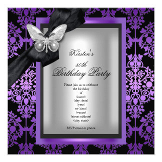 50th Birthday Party Purple Silver Damask Butterfly Custom Invites