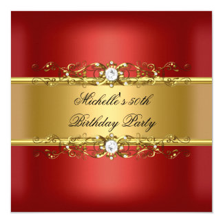 50th Birthday Party Red Gold Diamond Jewel 50 5.25x5.25 Square Paper Invitation Card