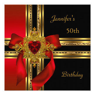 50th Birthday Party Red Gold Heart Jewel Personalized Invitation