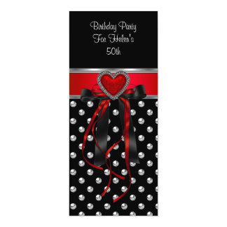 50th Birthday Party Red Heart Black Silver Long Custom Invite