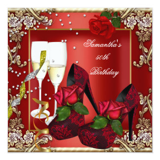 50th Birthday Party Red Rose Gold Floral Card