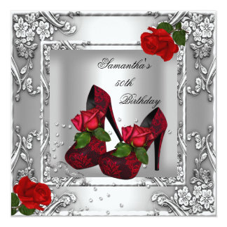 50th Birthday Party Red Rose Silver Invitation