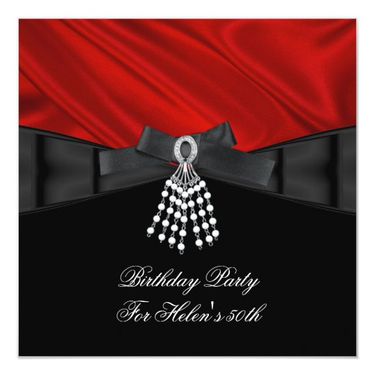 50th Birthday Party Red Silk Jewel Black White Card