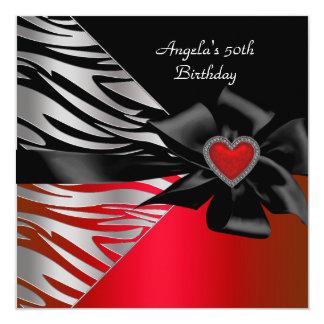 "50th Birthday Party Red Silver Zebra Black White 5.25"" Square Invitation Card"